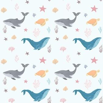 Naadloze patroon met walvis en schildpad