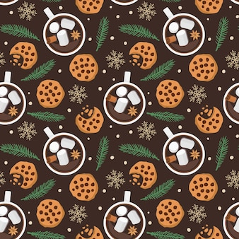 Naadloze patroon met warme chocolademelk cup cookies vuren takje sneeuwvlokken op donkerbruin