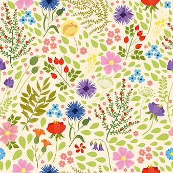 Naadloze patroon met wilde bloemenpracht
