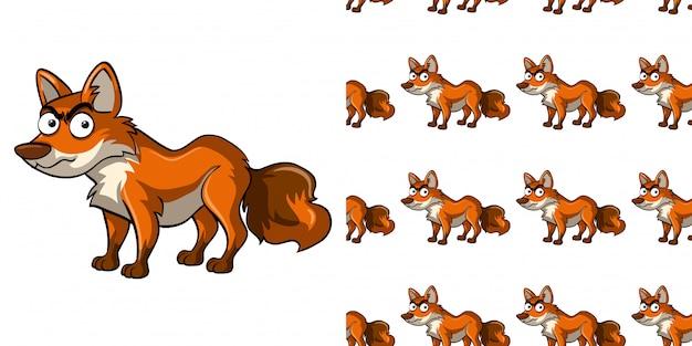Naadloze patroon met wilde vos