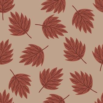 Naadloze patroon met willekeurig donker oranje herfstbladeren ornament.