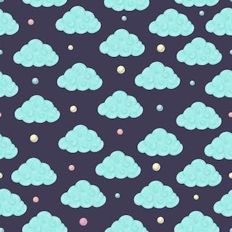 Naadloze patroon met wolken en gekleurde cirkels.