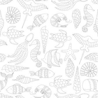 Naadloze patroon met zeedieren.