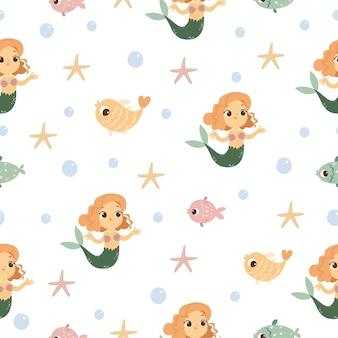 Naadloze patroon met zeemeerminnen en vissen