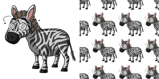 Naadloze patroon met zieke zebra