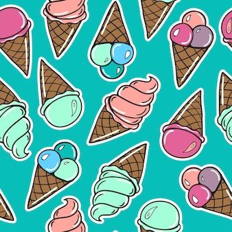 Naadloze patroon met zoete ijsjes.