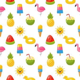 Naadloze patroon met zomer pictogrammen. reizen en toerisme op wit.