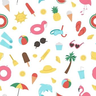 Naadloze patroon met zomerelementen