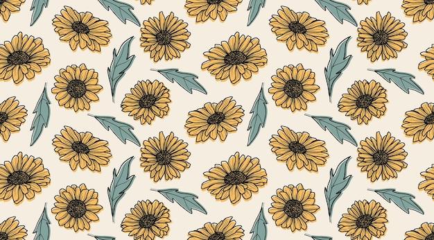 Naadloze patroon met zonnebloemen