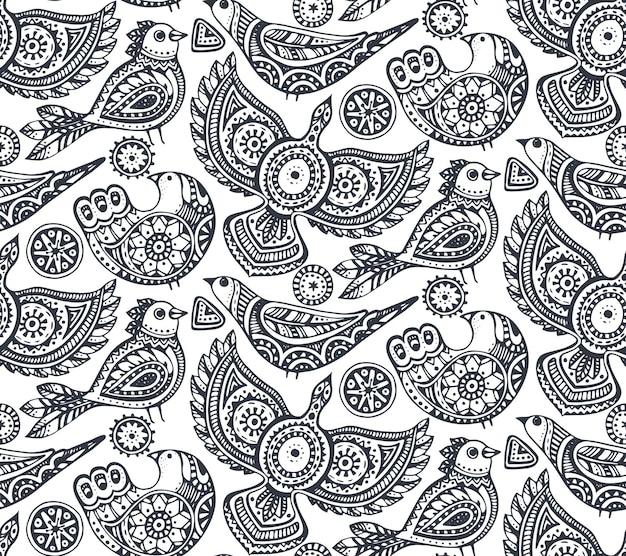 Naadloze patroon met zwart-wit hand getrokken etnische sierlijke vogels.