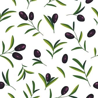 Naadloze patroon met zwarte olijftakken op wit.
