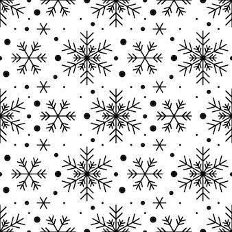 Naadloze patroon met zwarte sneeuwvlokken op witte achtergrond. feestelijke winter traditionele decoratie voor nieuwjaar, kerstmis, feestdagen en design. ornament van eenvoudige lijnherhalingssneeuwvlok