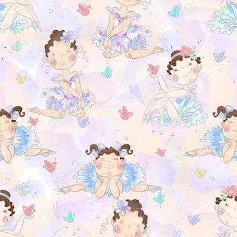 Naadloze patroon mooie meisjes ballerina's.