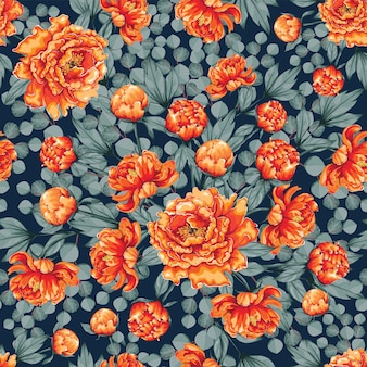 Naadloze patroon mooie oranje paeonia