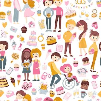 Naadloze patroon. mooie verliefde jongens en meisjes, vrienden feliciteren elkaar, valentijnsdag. handgetekende platte cartoon stijl.