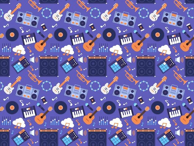 Naadloze patroon muziekinstrumenten en apparatuur elektronica pictogrammen