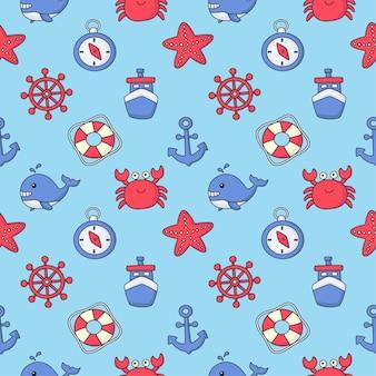 Naadloze patroon nautische pictogrammen cartoon stijl. geïsoleerd op blauwe achtergrond.