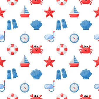 Naadloze patroon nautische pictogrammen cartoon stijl isoleren op wit