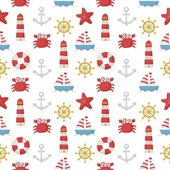 Naadloze patroon nautische stijl. geïsoleerd op witte achtergrond.