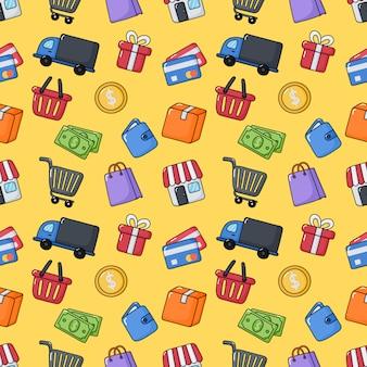 Naadloze patroon online elementen winkelen