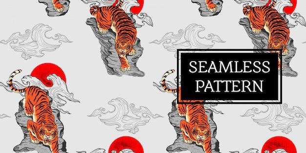 Naadloze patroon ontwerp tijger tattoo japan stijl