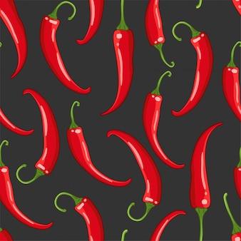 Naadloze patroon op donker met chili peper