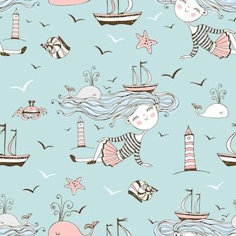 Naadloze patroon op het thema van de zomer en de zee met schattige meisjes op het strand. vector.