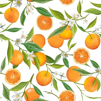 Naadloze patroon. oranje vruchten achtergrond. bloemenpatroon. bloemen, bladeren, fruitachtergrond. vector