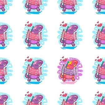 Naadloze patroon over dinosaur in liefde