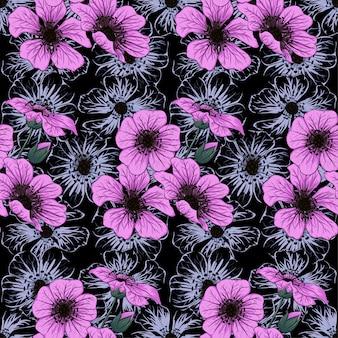 Naadloze patroon paarse wilde bloemen.