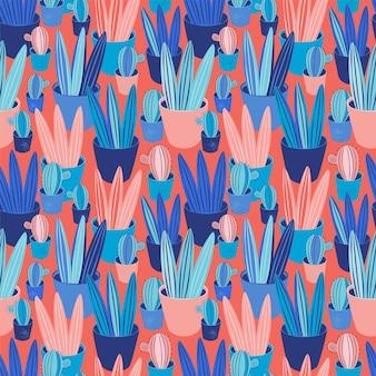 Naadloze patroon planten, cactussen, vetplanten in pot. scandinavisch gezellig huisdecor als achtergrond