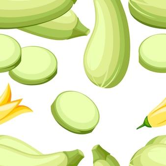 Naadloze patroon. pompoen heel. verse groente merg. langwerpige, groene pompoen. courgette of courgette van groenten. oogst het biologische ingrediënt van courgette.