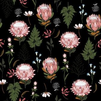 Naadloze patroon protea bloemen vector