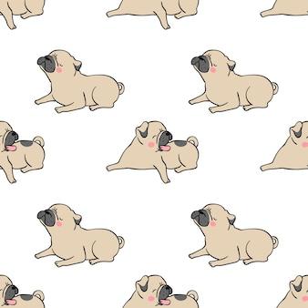 Naadloze patroon pug hond als achtergrond op wit