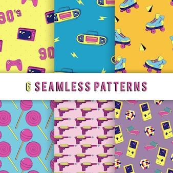 Naadloze patroon retro jaren 90 stijl collectie