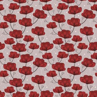 Naadloze patroon rode bloem.
