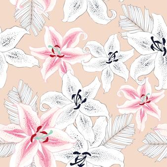 Naadloze patroon roze bloemen abstracte achtergrond.