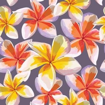 Naadloze patroon roze frangipani bloemen op abstracte achtergrond. aquarel tekening.