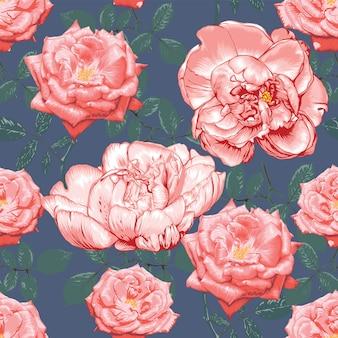 Naadloze patroon roze roos en paeonia bloemen op abstracte achtergrond. tekening.