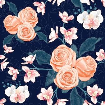 Naadloze patroon roze roos en roze orchideebloemen op abstracte donkerblauwe achtergrond