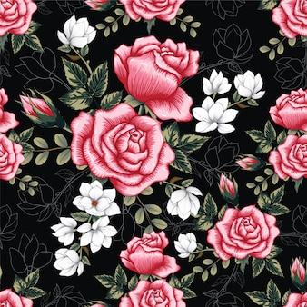 Naadloze patroon roze rose bloemen achtergrond.