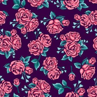 Naadloze patroon roze rozen op donkere achtergrond.