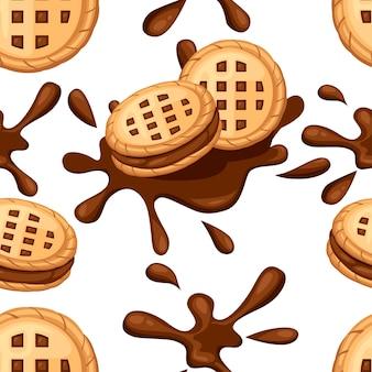 Naadloze patroon. sandwich koekjes. chocoladekoekjes met choco cream flow. cracker drop in chocolade splash. voedsel en snoep, bakken en koken thema. vlakke afbeelding op witte achtergrond.