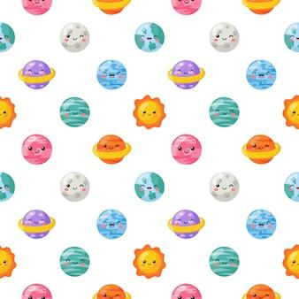 Naadloze patroon schattig grappige kawaii ruimte. planeten cartoon stijl geïsoleerd.