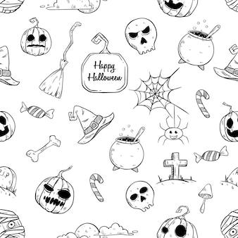 Naadloze patroon schattig halloween-elementen met hand getrokken stijl