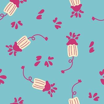 Naadloze patroon schattig menstruatie periode object. sanitaire tampons voor dames.