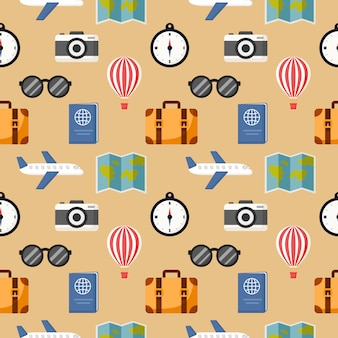 Naadloze patroon schattig reizen cartoon stijl geïsoleerd op crème
