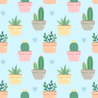 Naadloze patroon schattige cactus in kant de pot op blauw