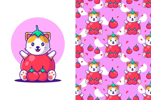 Naadloze patroon schattige cartoon kat met tomaat