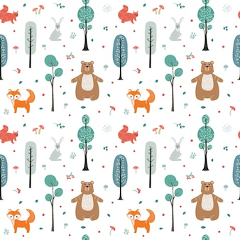 Naadloze patroon. schattige dieren op de achtergrond van het bos, bomen, planten. beer, vos, eekhoorn, haas. bos dieren. illustraties in scandinavische stijl